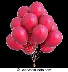 decoração, isolado, aniversário, pretas, partido, balões, vermelho