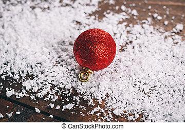 decoração, natal, vermelho, neve