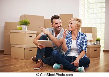 decoração, novo, apartamento, soluções