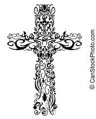 decoração, padrão, cristão, desenho, crucifixos