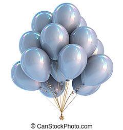 decoração, partido aniversário, branca, balões, prata
