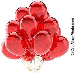 decoração, partido, balões, vermelho