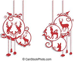 decoração, veado, natal