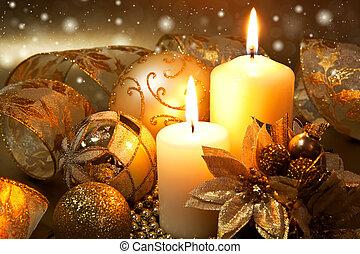 decoração, velas, sobre, experiência escura, natal