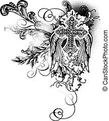 decoração, voando, crucifixos, scroll