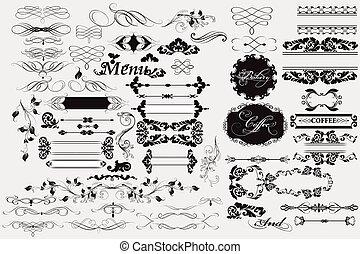 decorações, calligraphic, elementos, página, desenho
