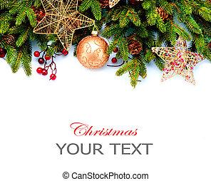 decoration., isolado, experiência., desenho, decorações, branca, feriado, borda, natal