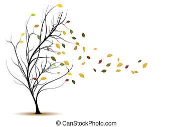 decorativo, árvore, vetorial, silueta