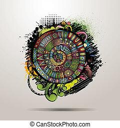 decorativo, abstratos, vetorial, grunge, fundo