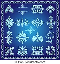 decorativo, azul, elementos, desenho