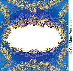 decorativo, azul, quadro, floral
