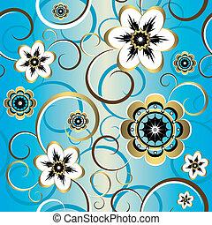 decorativo, azul, (vector), padrão, seamless, floral