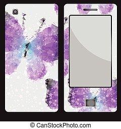 decorativo, borboleta, desenho, telefone móvel