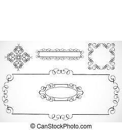 decorativo, bordas, vetorial