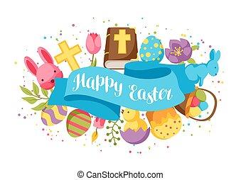 decorativo, coelhinhos, ovos, saudação, objetos, páscoa, cartão, feliz