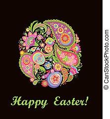 decorativo, coloridos, ovo, floral, páscoa, cartão