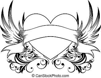 decorativo, coração, emblema