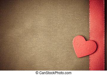 decorativo, coração, pano, madeira, experiência., bege, vermelho