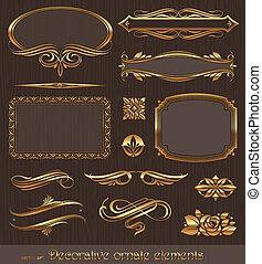 decorativo, dourado, decoração, elementos, &, vetorial, desenho, página