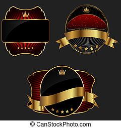 decorativo, dourado, escuro, vetorial, fundo, ornate, bordas