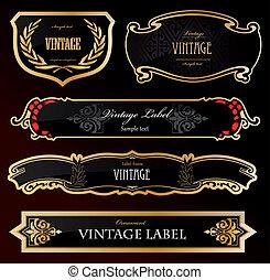 decorativo, dourado, etiquetas, pretas, vetorial
