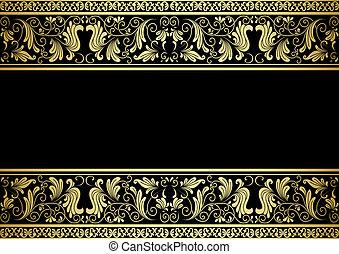 decorativo, dourado, quadro, elementos