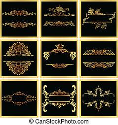 decorativo, dourado, vetorial, ornate, bordas, quad