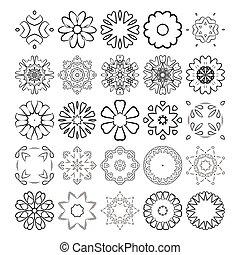 decorativo, elements., set., ornament., vetorial, desenho, círculo