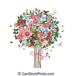 decorativo, flor, árvore, pássaros