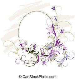 decorativo, floral, quadro, ornamento