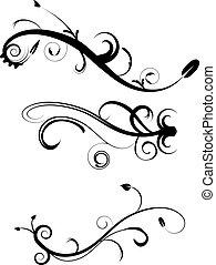 decorativo, flourishes, 2, jogo