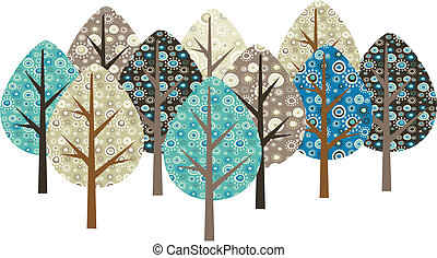 decorativo, grunge, árvores