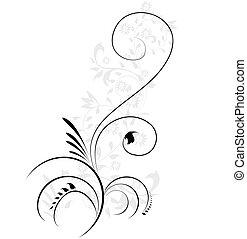 decorativo, ilustração, floral, flourishes, rodar, vetorial, elemento