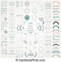 decorativo, jogo, mão grande, vetorial, desenho, desenhado, elementos