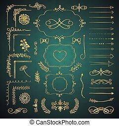 decorativo, jogo, mão, vetorial, desenho, desenhado, elementos