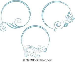 decorativo, oval, frame., ramo