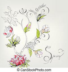 decorativo, primavera, cartão