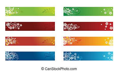 decorativo, sazonal, borda, floral