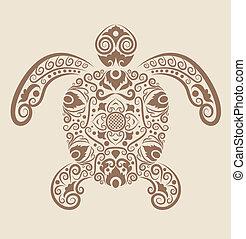 decorativo, tartaruga, vetorial