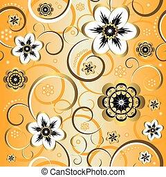 decorativo, (vector), padrão, seamless, amarela, floral
