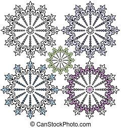 decorativo, vindima, desenho, snowflakes, (vector)
