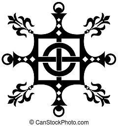 decorativo, vindima, ornamento, (vector)
