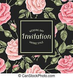 decorativo, vindima, roses., retro, convite, flores, cartão