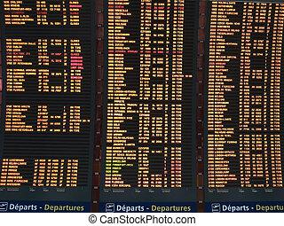 degaulle, vôo, charles, partida, cima, aeroporto, tábua, fim