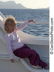 dela, bote, cabelo, balsa, menina, desfrutando, vento, vista