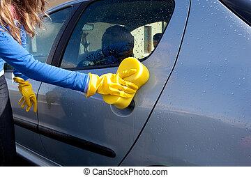 dela, car, mulher da limpeza, close-up