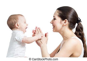 dela, divertimento, mãe, menina bebê, tendo, amando