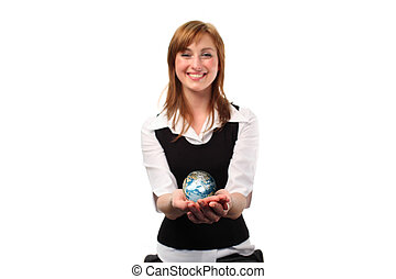 dela, mão, globo, jolding, mulher
