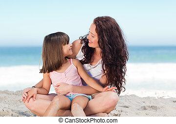 dela, menininha, mãe, praia