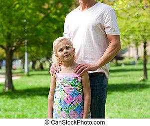 dela, parque, menininha, cute, pai
